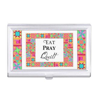 Colorful Quilt Blocks Border Art Eat Pray Quilt Business Card Holder