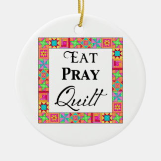 Colorful Quilt Blocks Border Art Eat Pray Quilt Christmas Ornament