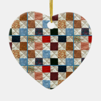 Colorful quilt squares pattern ceramic heart decoration