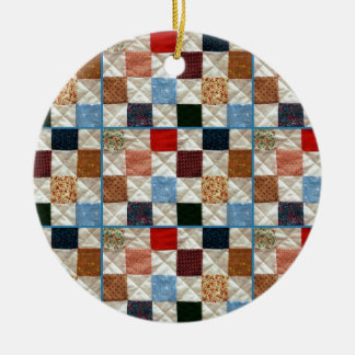 Colorful quilt squares pattern christmas ornament