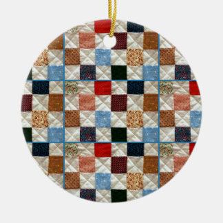 Colorful quilt squares pattern round ceramic decoration