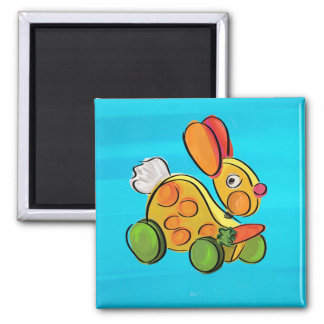 Colorful rabbit pull toy square magnet