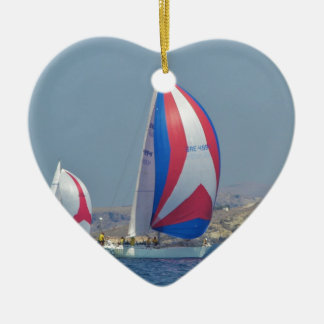 Colorful Racing Spinnakers Ceramic Heart Decoration
