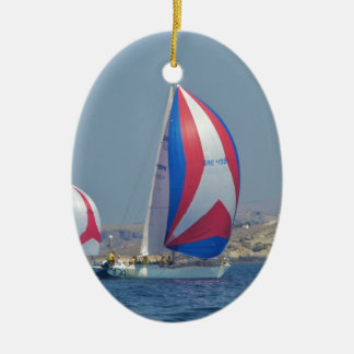 Colorful Racing Spinnakers Ceramic Oval Decoration