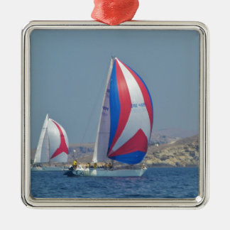 Colorful Racing Spinnakers Silver-Colored Square Decoration
