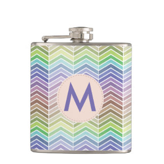 Colorful Rainbow and Textured Chevron Pattern Flasks
