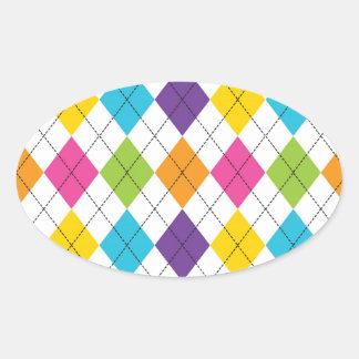 Colorful Rainbow Argyle Diamond Pattern Teen Gifts Oval Sticker