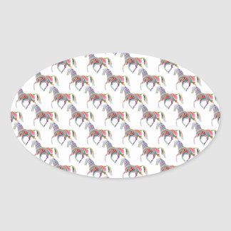 Colorful Rainbow Artistic Horse Pattern Oval Sticker
