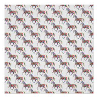 Colorful Rainbow Artistic Horse Pattern Print