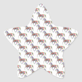 Colorful Rainbow Artistic Horse Pattern Stickers