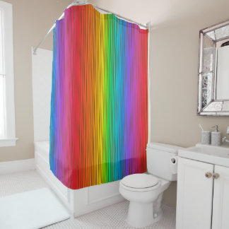 colorful rainbow background shower curtain - Funky Bathroom Accessories Uk