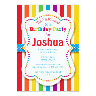 Colorful Rainbow Birthday Party Invitation