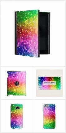 Colorful rainbow bokeh glitter