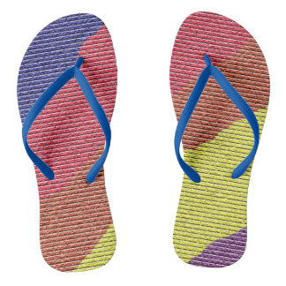 Colorful Rainbow Brick Wall Design Flip Flops
