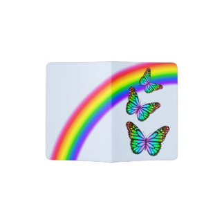 Colorful Rainbow Butterflies Passport Holder