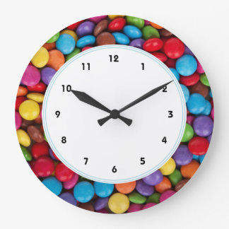Colorful rainbow candy sweets large clock