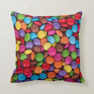 Colorful rainbow candy sweets throw pillow
