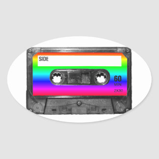 Colorful Rainbow Cassette Oval Sticker