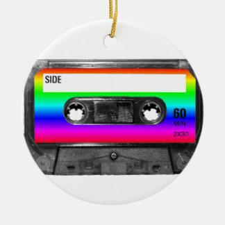 Colorful Rainbow Cassette Round Ceramic Decoration