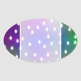 Colorful Rainbow Clouds with White Raindrops. Oval Sticker
