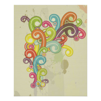 colorful rainbow color retro swirls design poster