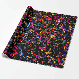 Colorful Rainbow Colored Confetti on Black v2 Wrapping Paper