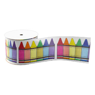 Colorful Rainbow Crayons Art Artist Ribbon Grosgrain Ribbon