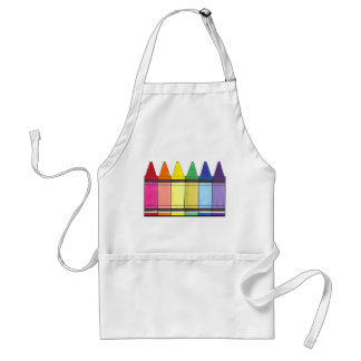 Colorful Rainbow Crayons Art Supply Teacher Pride Standard Apron