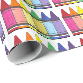 Colorful Rainbow Crayons Wrapping Paper