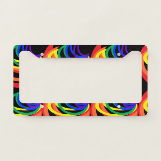 Colorful Rainbow Crescents License Plate Frame