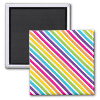 Colorful Rainbow Diagonal Stripes Gifts for Teens Square Magnet