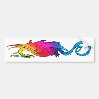 Colorful Rainbow Dragon long Sticker Bumper Sticker