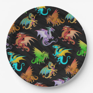 Colorful Rainbow Dragons School Paper Plate