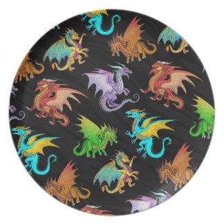 Colorful Rainbow Dragons School Plate
