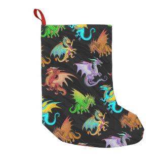 Colorful Rainbow Dragons School Small Christmas Stocking