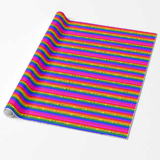Colorful Rainbow-Happy Birthday Gift Wrap Paper