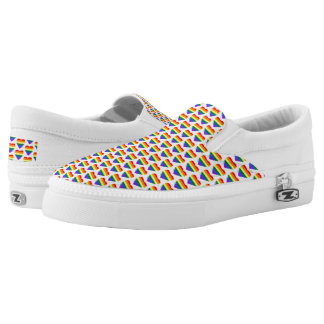 Colorful Rainbow Hearts Pattern Slip-On Shoes