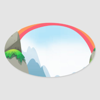 Colorful rainbow in the nautre oval sticker