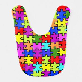Colorful rainbow jigsaw puzzle pattern baby bib