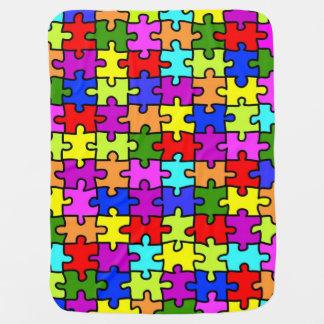 Colorful rainbow jigsaw puzzle pattern baby pramblanket