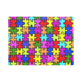 Colorful rainbow jigsaw puzzle pattern doormat