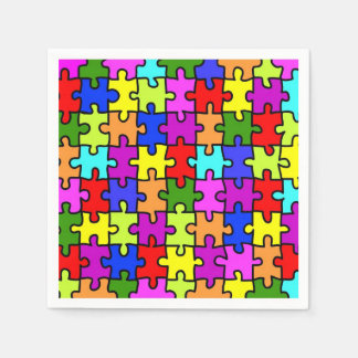 Colorful rainbow jigsaw puzzle pattern paper serviettes