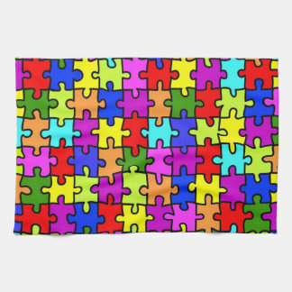 Colorful rainbow jigsaw puzzle pattern towels
