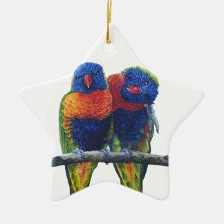 Colorful Rainbow Lorikeets parrots Ceramic Star Decoration