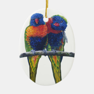 Colorful Rainbow Lorikeets parrots Christmas Ornament