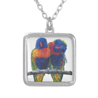 Colorful Rainbow Lorikeets parrots Silver Plated Necklace