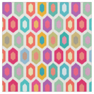 Colorful Rainbow Modern Ikat Pattern Fabric