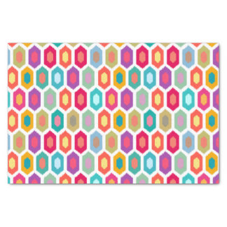 Colorful Rainbow Modern Ikat Pattern Tissue Paper