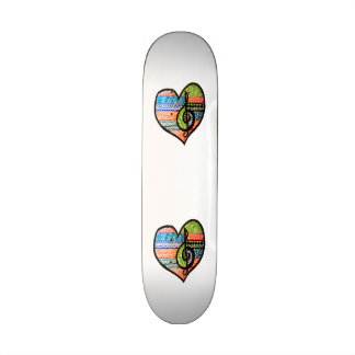 Colorful Rainbow Music Heart Customizable Skate Decks