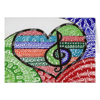 Colorful Rainbow Music Heart Doodle Personalized Card